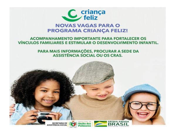 Prefeitura de União dos Palmares oferta novas vagas para o programa Criança Feliz.
