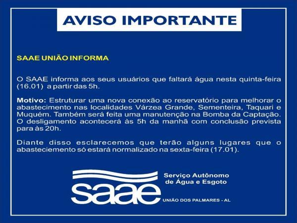 SAAE de União informa sobre reparos na rede.